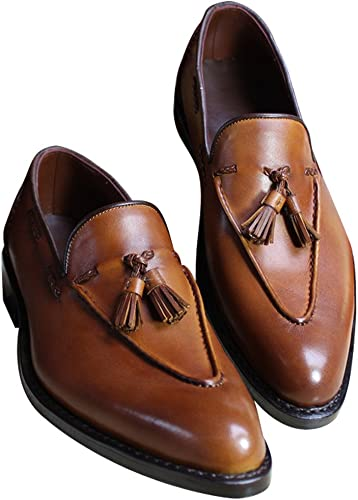Bespoke Mens Handmade Brown Genuine Leather Shoes Moccasins Leather Sole shoes