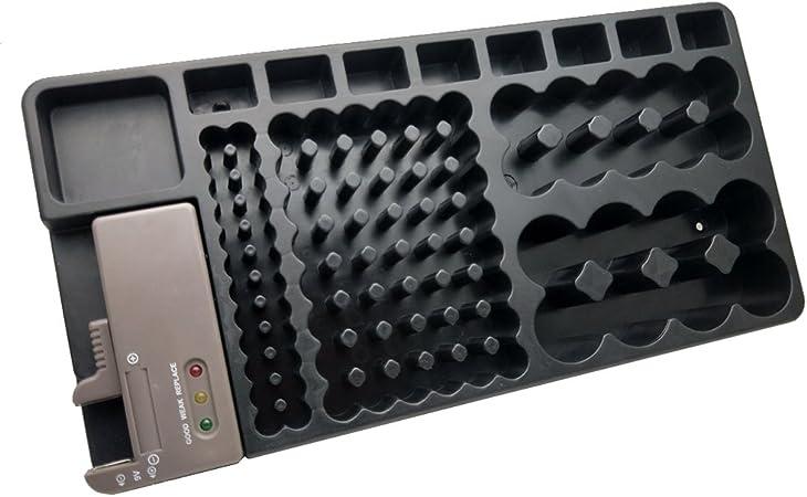 OUNONA - Caja de almacenamiento para batería extraíble con soporte para 98 pilas AA AAA 9 V C D (negro): Amazon.es: Hogar
