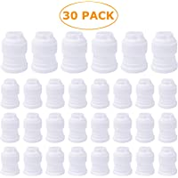 30 Pack Plastic Standard Couplers Cake Decorating for Icing Nozzles Piping Bags White