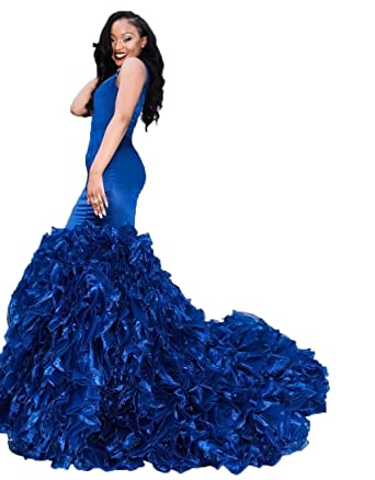 Graceprom Womens Royal Blue Prom Dress Sexy V Neck Long Evening Party Dress at Amazon Womens Clothing store: