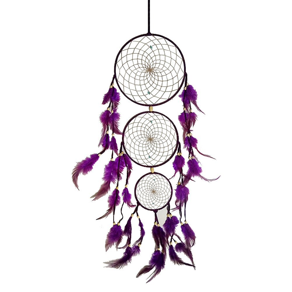 Jescrich Turquoise Dream Catcher Car Wall Hanging Ornament 3 Ring Dreamcatcher Wall Craft Gift(Purple)