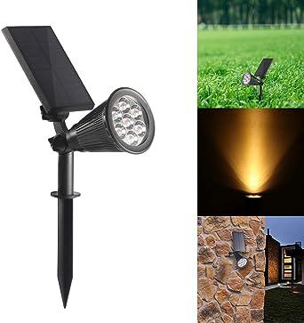 Konesky Foco Solar, Jardín LED para Exteriores Lámpara de Césped para Paisajes Impermeable IP65 Encendido/Apagado Automático para Césped, Patio (Blanco Frío): Amazon.es: Iluminación