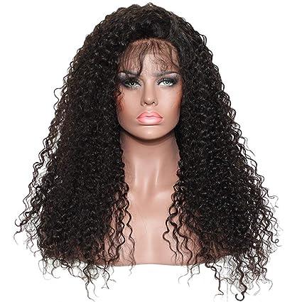 "Ugeat 130% Densidad 16"" Front Lace Pelucas Cabello Naturales para Mujer 145g Natural Black"