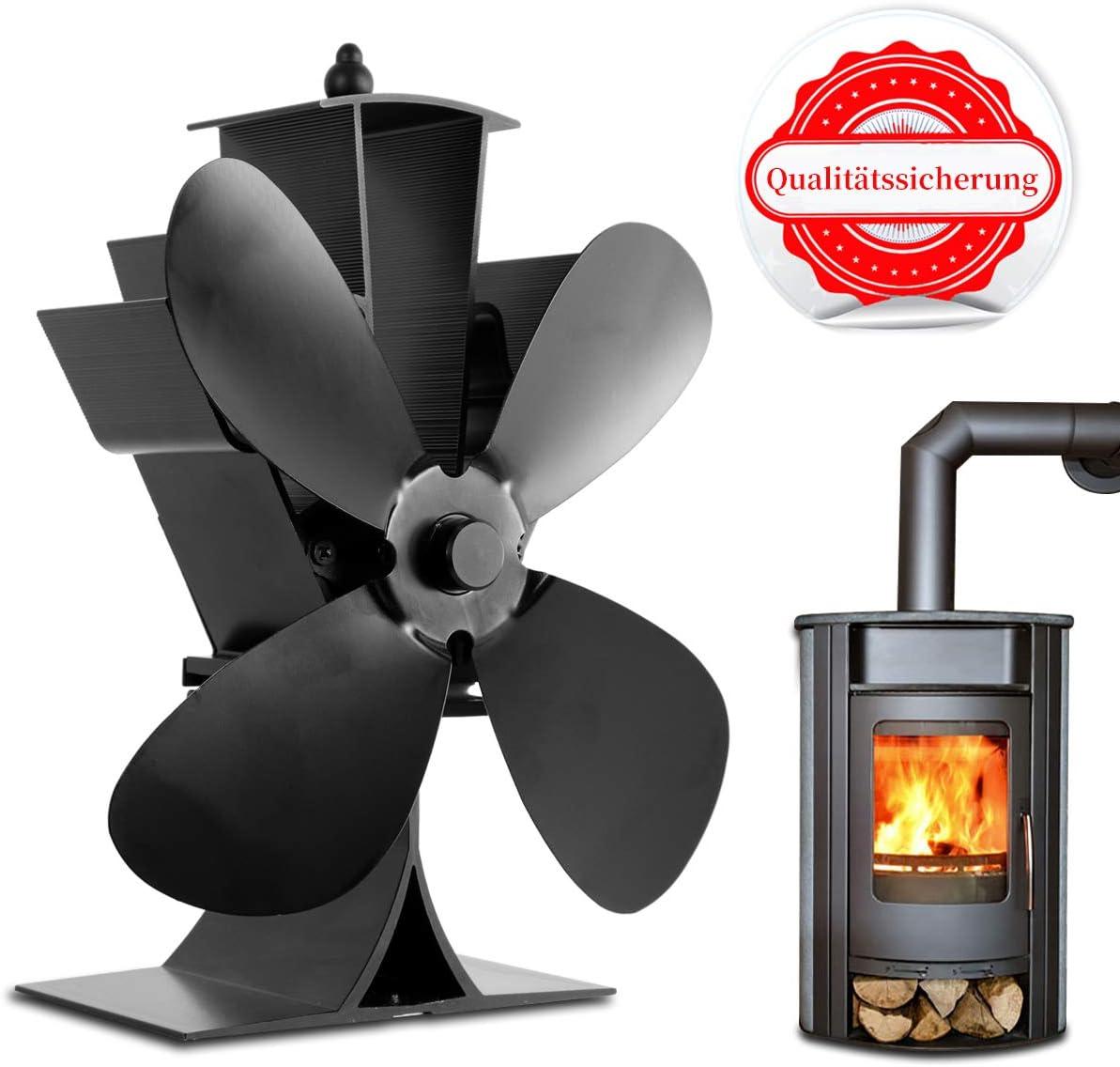 Orthland - Ventilador para chimenea, sin corriente, para chimenea, estufa de leña con 4 aspas en el quemador de madera/quemador de leña, distribución óptima del aire, respetuoso con el medio ambiente, silencioso: