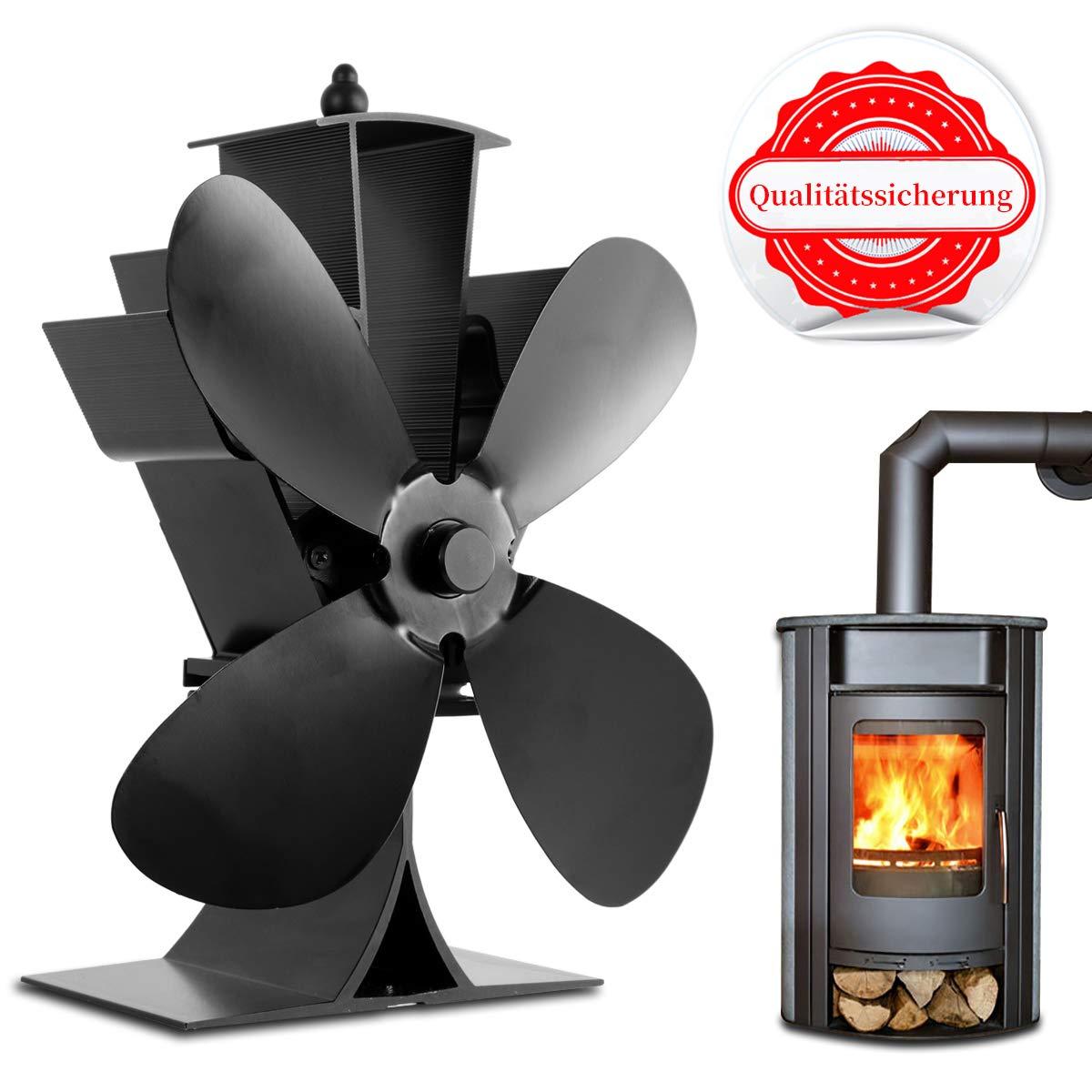 Orthland Ventilador de estufa de 4 palas Ventilador de le/ña//le/ña alimentado por calor Ventilador ecol/ógico Circulaci/ón de calor para le/ña//le/ña//chimenea
