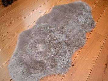 silver grey faux fur sheepskin style rug 70cm x 140cm