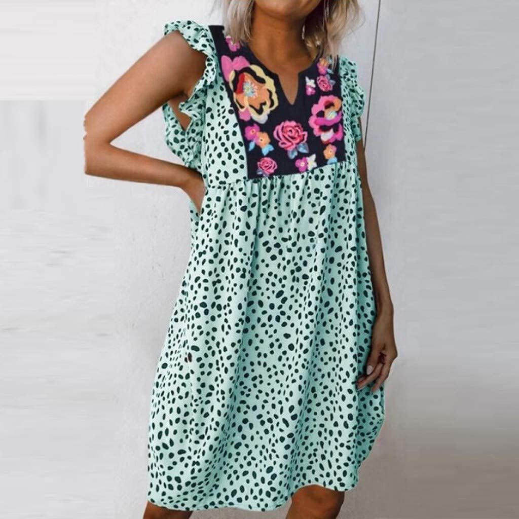 Womens Floral Mexican Peasant Dresses Ruffle Leopard Loose Beach Midi Dress Ethnic Style Pleated Swing Sundress