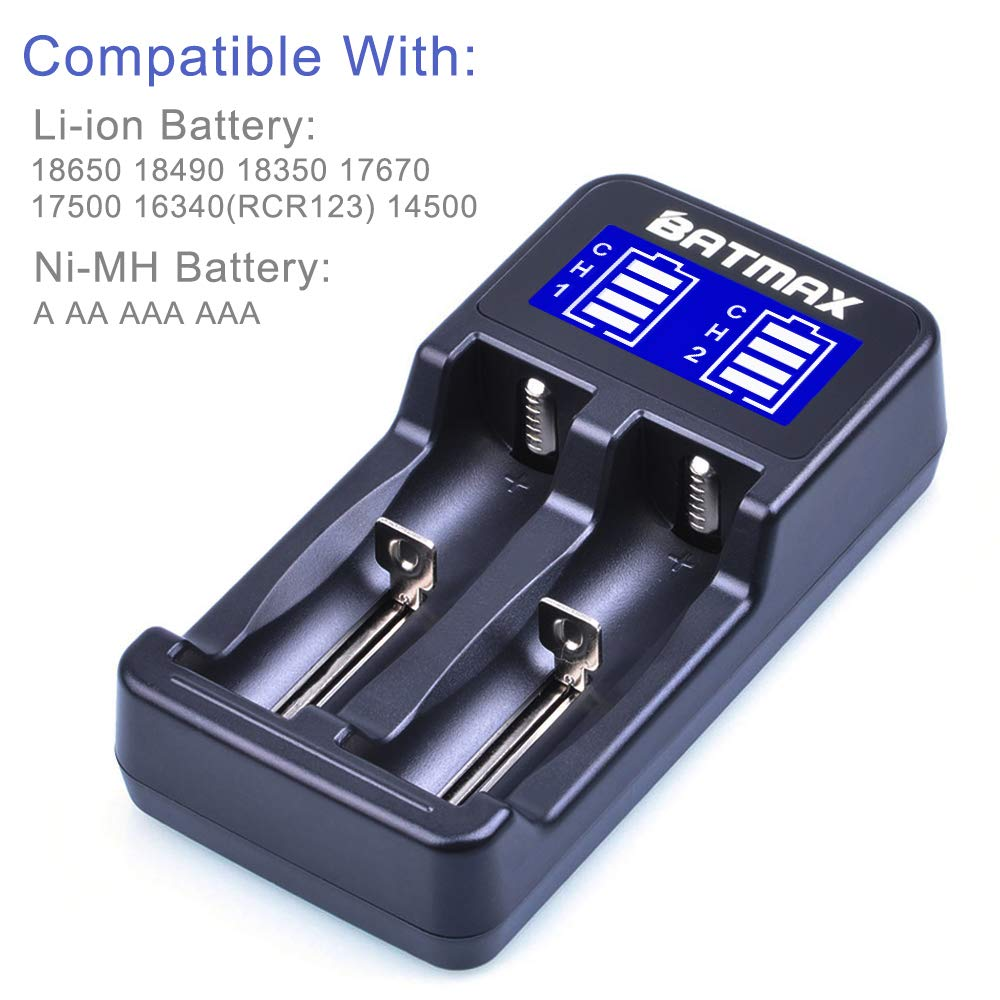 14500 A AA AAA AAAA Rechargeable Batteries Batmax LCD Universal Intelligent USB Dual Battery Charger for Li-ion//Ni-MH//Ni-Cd 18650 18490 18350 17670 17500 16340 RCR123