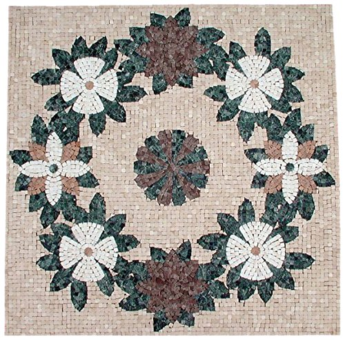 AMERIQUE Luxury Polished Hand Cut Marble Mosaic Medallion Floor Tile, Ready To Install, 40'' L x 40'' W