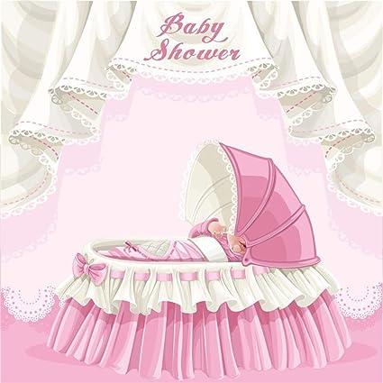 Laeacco 6x6ft Cartoon Girl Baby Shower Backdrop Vinyl Pink Princess Crib  Sleeping Baby Girl Scene Background Girl Baby Shower Birthday Party Banner  ...