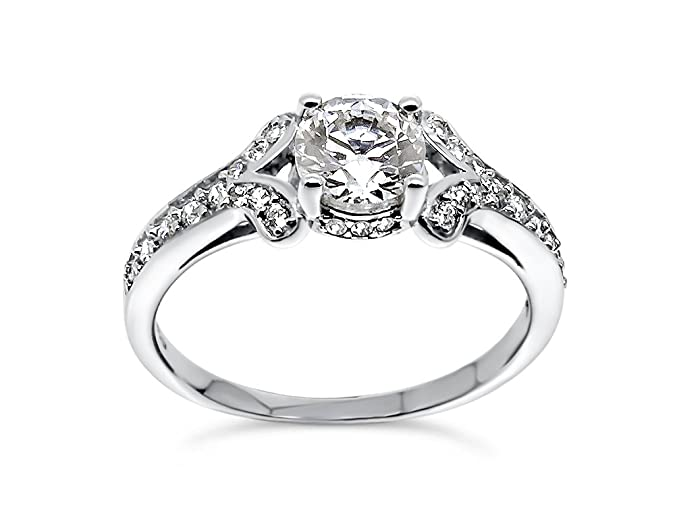925 Sterling Silver UK Hallmarked 1ct Lab Diamond White Gold Plated Solitaire Wedding Engagement Ladies Ring RguOJIzZz