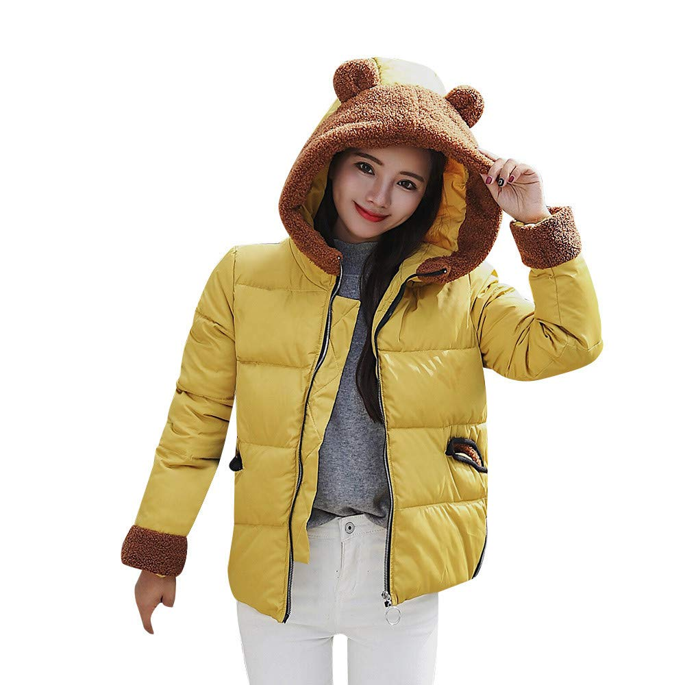 Dainzuy Ladies Sexy Casual Coats,Women's Short Slim Thick Outerwear Hooded Cotton-Padded Jackets Fur Coats