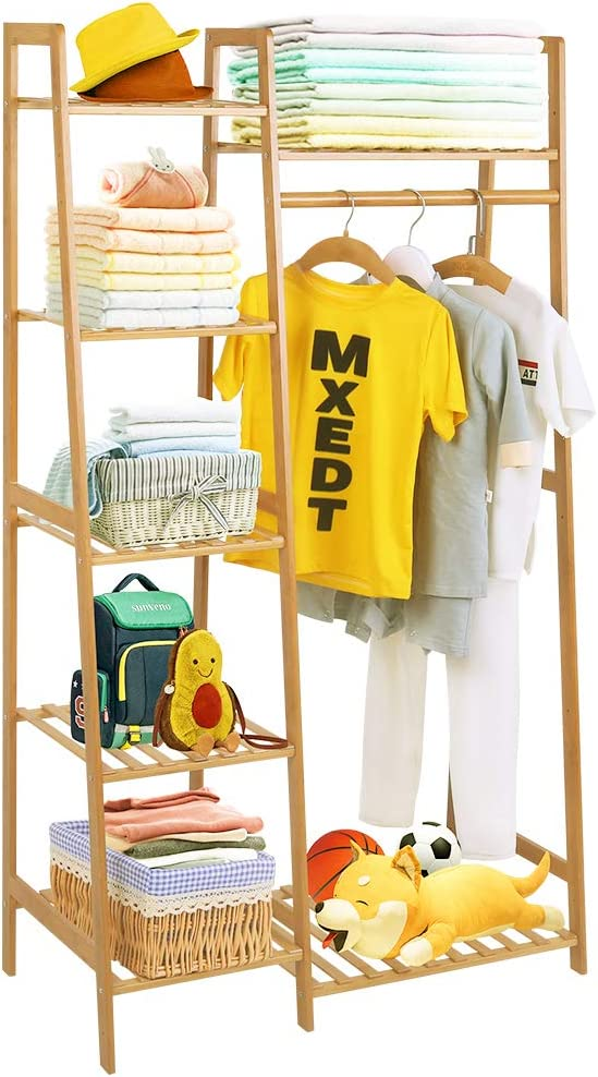 Bamboo Wood Garment Rack Clothing Rack with 5 Tiers Storage Shelf Corner Clothes Hanging Rack for Coat Jacket Trouser Shoe Coat Plant in Home Laundry Commercial Office (Ladder Design,Heavy Duty)