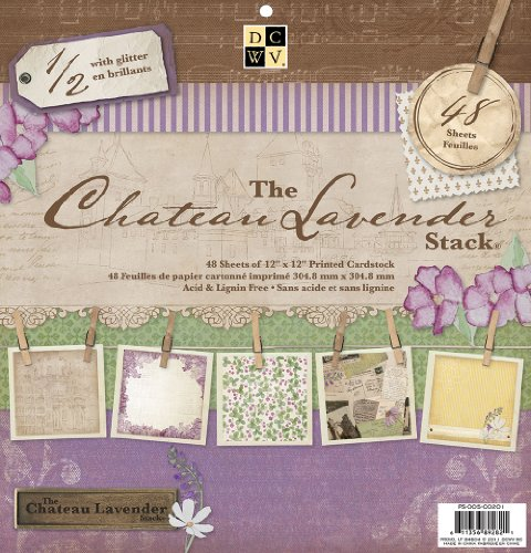 Die Cuts with A View 12-inches by 12-inches Premium Paper Stack with Glitter, Chateau Lavender (12x12 Paper Die Cut)