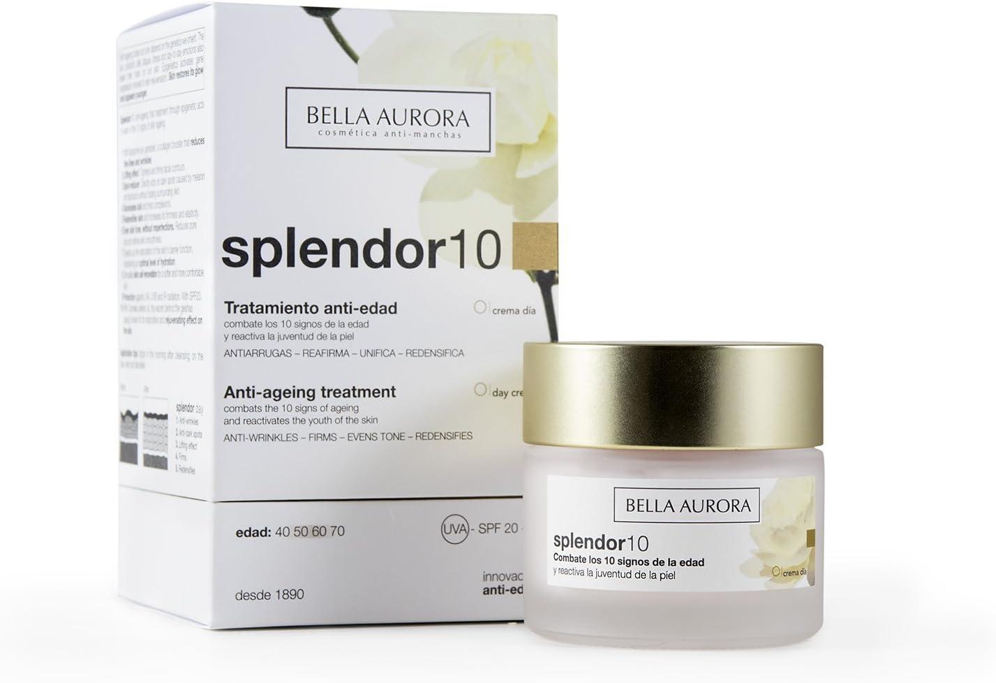 Bella Aurora Splendor 10 Crema Facial Hidratante Anti-Edad Mujer Día Tratamiento Anti-Arrugas para la Cara Sin Parabenos, 50 ml
