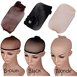 Sygrand(TM) 3Pcs/Lot Hairnets Unisex Elastic Wig Cap Stretchable Mesh Breathable Nylon Hair Net for Synthetic Cosplay Wigs