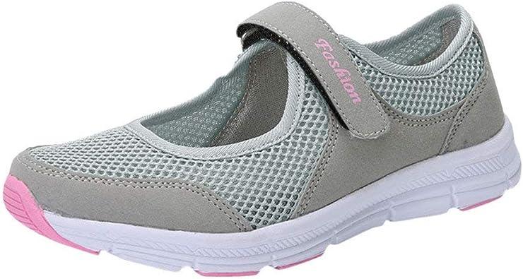 Zapatos Malla de Mujer de Velcro Deportivo de Calzado Casual Ligero Aire Libre y Deporte Transpirables Casual Zapatos Gimnasio Correr Sneakers Zapatillas de Deportivo Ligero y Comodo riou: Amazon.es: Zapatos y complementos