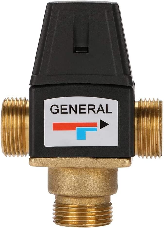 HZR Valve Brass Valve 1-10m/³//h DN20 3 Way DN20 Male Thread Brass Thermostatic Mixing Valve for Solar Water Heater Provides Safety Function of Anti-Scald