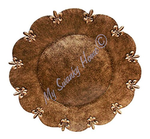 Fleur de Lis Copper Bronze Finish Charger Plates Set of 2 - ChristmasTablescapeDecor.com