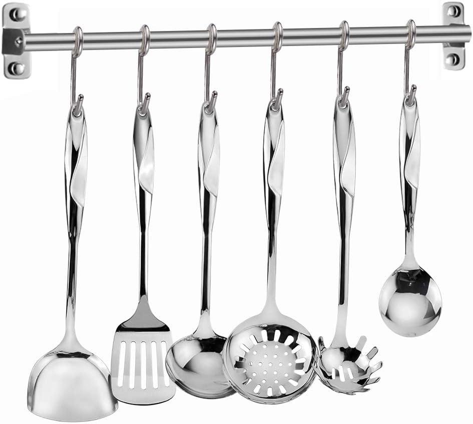 Elegant Life Kitchen Utensil Set - 7 Piece Stainless Steel Cooking Utensils Set- Premium Non-Stick & Heat Resistant Kitchen Gadgets Cookware Set,Kitchen Utensils with Spatula - Best Kitchen Tool Set