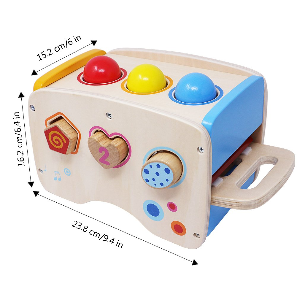 Lewo Wooden Toddlers Musical Toys Pound Tap Bench Xylophone Shapes Sorter Early Educational Games Kids by Lewo (Image #6)