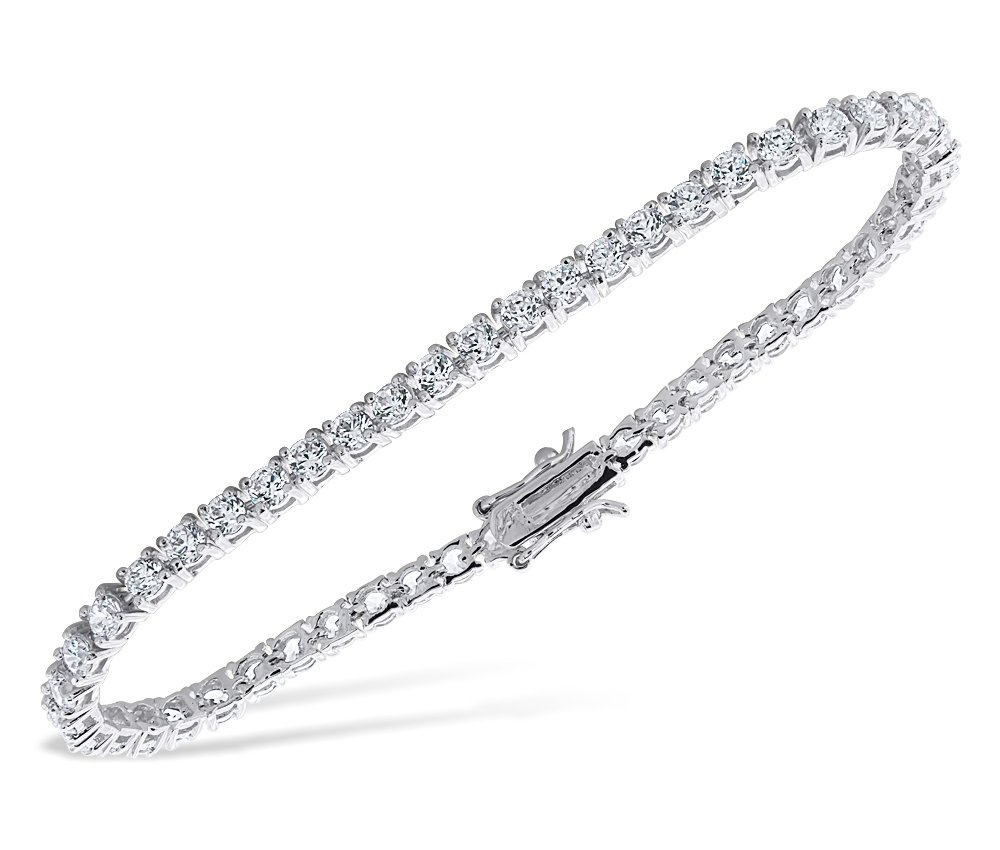Ladies 6.40 CT Cubic Zirconia 14K White Gold Finish Tennis Bracelet (8 Inches)