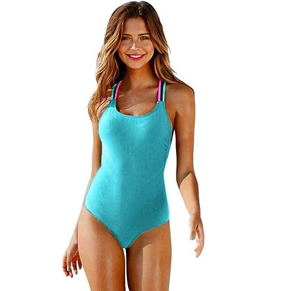 PAOLIAN Trajes de una pieza Bikini enteros sexy Mujer Verano 2018 Ropa de Playa Bañador Cuello