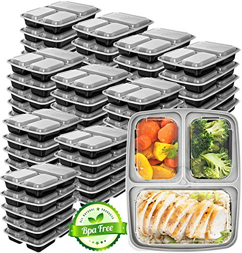 Prep Naturals Meal Prep Containers 3 Compartment 45 Pack - Food Prep Containers Bento Box Bpa-Free Food Storage Containers with Lids - Lunch Containers Food Containers - Reusable Meal Prep Containers