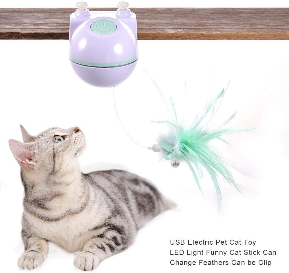 following Juguete eléctrico para Mascotas, Juguete de Cazador de luz Giratorio automático 2 en 1 y Juguete de Plumas Interactivo con Clip y Cable de Carga USB para Gatos y Perros Conventional: