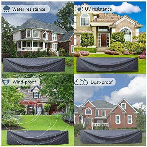 AKEfit Patio Furniture Cover Outdoor sectional Furniture Covers Waterproof Dust Proof Furniture Lounge Porch Sofa Protectors D128 x W83 x H28