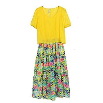 Vestidos de Playa Mujer Verano Manga Corta Amarillos Falda de Playa (Color : As Shown