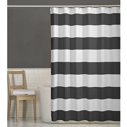 MAYTEX Porter Fabric Shower Curtain Grey 70 X 72 Inch Striped
