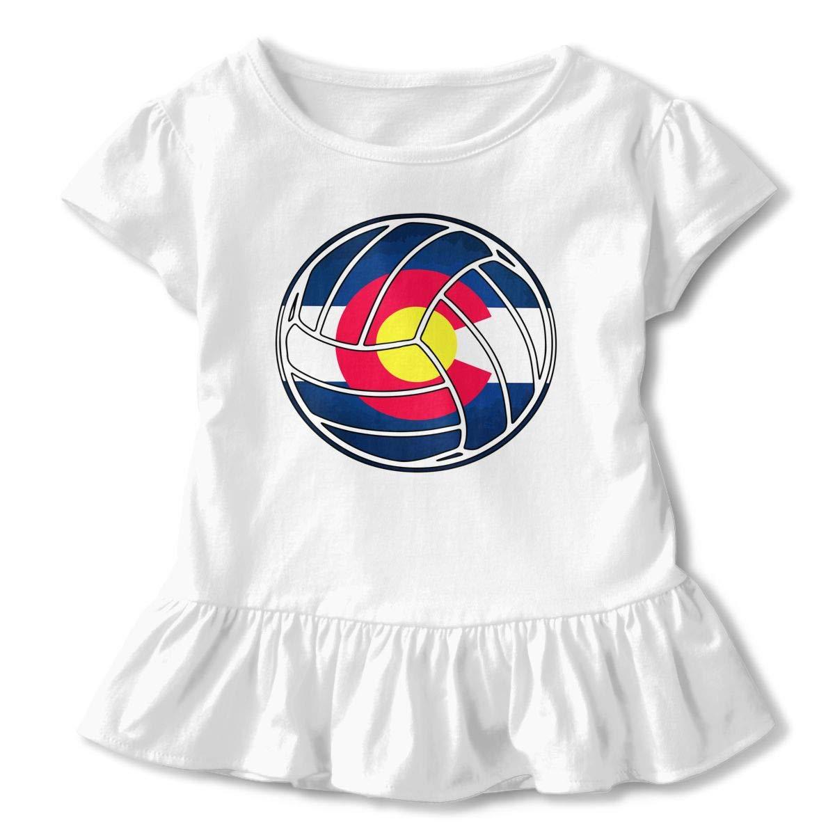 Cheng Jian Bo Colorado Flag Volleyball Toddler Girls T Shirt Kids Cotton Short Sleeve Ruffle Tee