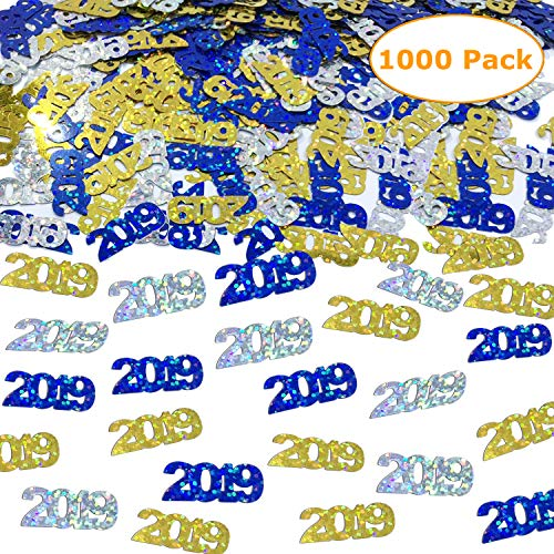 2019 Confetti - Graduation Party Supplies Decoration | Anniversary, Birthday and Variety of Events | Pack of 1000/2.6 Oz Gold Silver and Blue ()