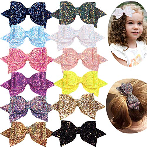 12PCS Girls Hair Bows 5 Inch Large Big Bling Sparkly Sequin Glitter Hair Bows Alligator Hair Clips Fashion Hair Accessories for Girls Toddlers Kids Teens - Inch 5 Sequins