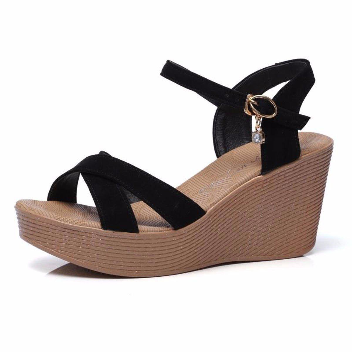 GTVERNH Sommer Damenschuhe Dicken Hintern Wasserdichte Plattform Steigung Ferse Sandalen Schnallen High Heels Sind Schuhe Rom Schuhe.