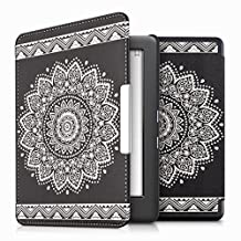 kwmobile Elegant synthetic leather case for the Kobo Glo HD (N437) / Touch 2.0 Design Flowers in white black