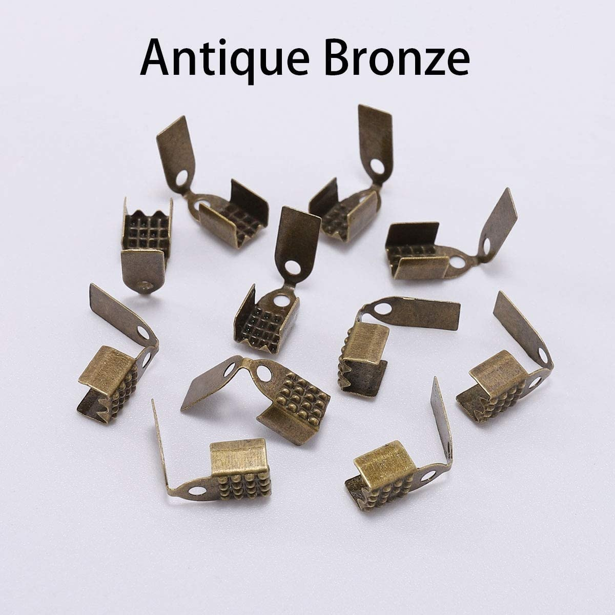 Color: Antique Bronze; Size: 4mm HANDYCRF100pcs 4 5 6mm Metal Rope Fastener Crimp Fold Over Cord End Cap Leather Clip Connector for DIY Jewelry Making Findings Supplies