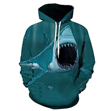 Ferocious Shark Print 3D Hoodies Unisex Animal Casual Sweatshirt Beige 6XL