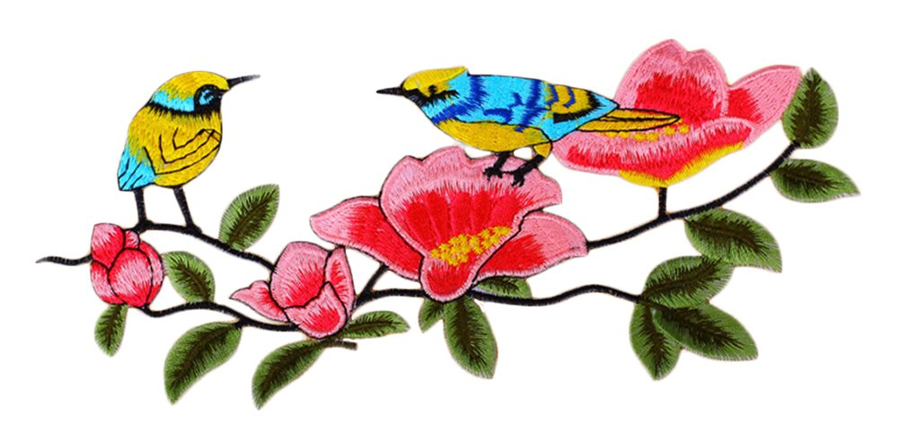 C-Pioneer DIY Bird and Flower Embroidery Applique Patches Iron on Clothing Accessories