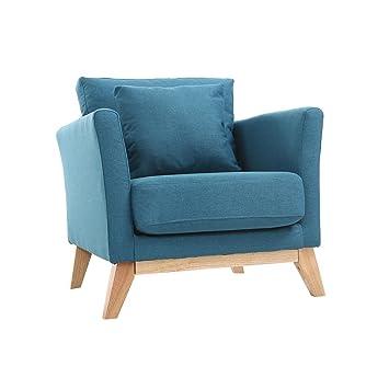 Miliboo - Sillón escandinavo azul petrólro patas madera ...