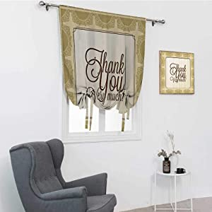 """GugeABC Romantic Decorations Collection Window Blinds and Shades, Classic Victorian Decorative and Swirl Ornaments Border Quotes Thank You Print Window Shades for Home, Khaki Brown, 39"""" x 64"""""""