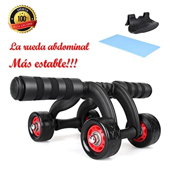 Ruedas Abdominales Fitness-Rodillo Abdominal 4 Ruedas con Alfombrilla y Freno para Los Principantes y