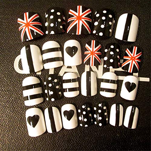 (Kids False Nails Fake Full Nails With Designs Black White Striped Lovely Dots Sweet Heart 3D Fake Nails Clear Nail Tips)