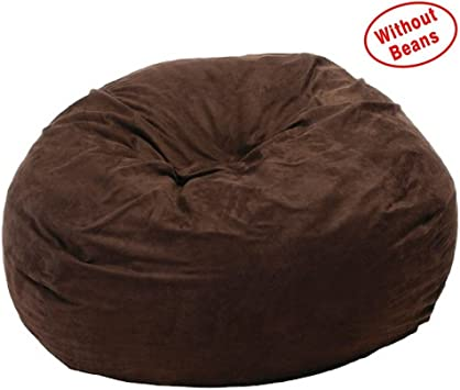 Large XXXL Size Black Color Comfort Suede Bean Bag Chair Cover Only by Ink Craft
