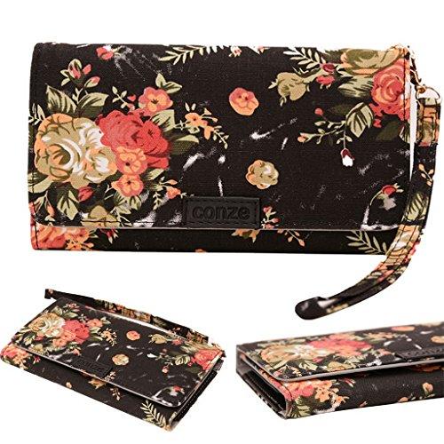 Conze moda teléfono celular Llevar bolsa pequeña con Cruz cuerpo correa compatible con Prestigio MultiPhone 5044Duo/8500Duo Black + Flower Black + Flower