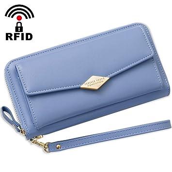 4f46a1789d06c Damen Geldbörse Groß Viele Fächer Frauen Geldboerse RFID Schutz Portmonee  Damen Reissverschluss und Druckknopf