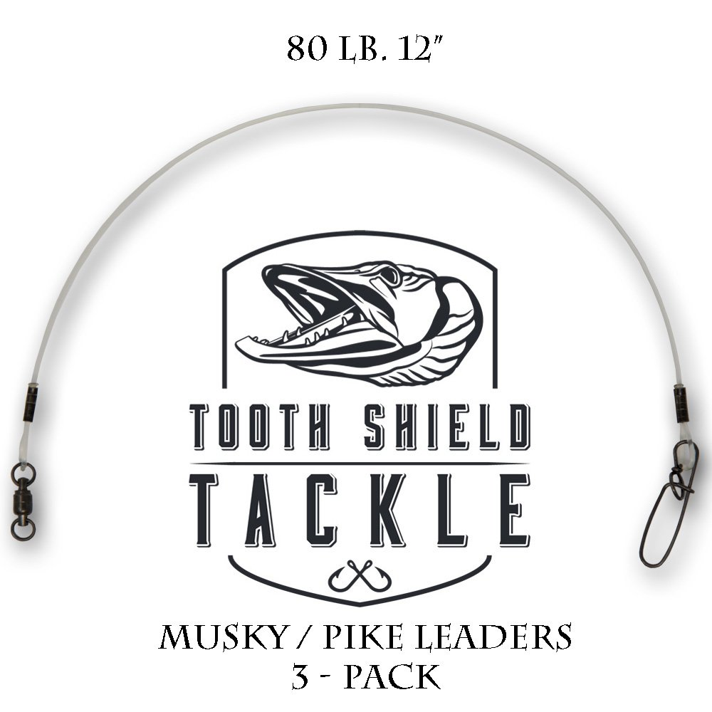 Tooth Shield Tackle 3 Pack 80 lb 12 Premium Fluorocarbon Musky Leaders Muskie Pike Leader