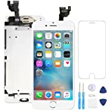 """Screen Replacement for iPhone 6 Plus White 5.5"""" LCD Display Touch Digitizer Frame Assembly Full Repair Kit, with Home Button, Proximity Sensor, Ear Speaker, Front Camera, Screen Protector, Repair Tool"""