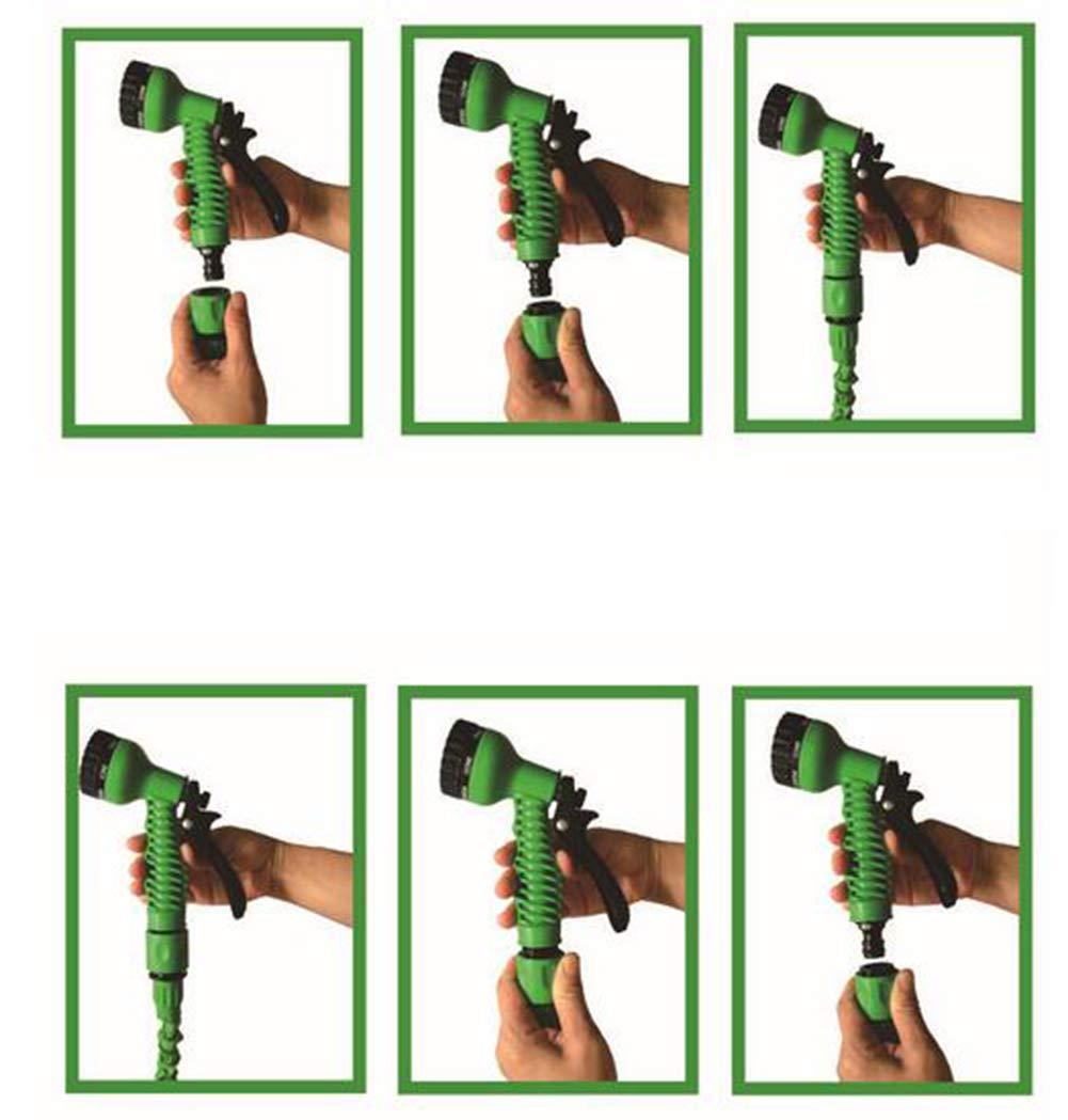 Rengzun 25-150 FT Multifunction Expanding Garden Water Hose Pipe with 7 Patterns Spray Gun Flexible Magic Hose Anti-leakage Lightweight Hosepipe Green